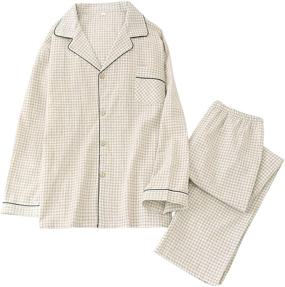 Mens Cotton Woven Pajama Set 2 Piece Sleepwear Plaid Stripe Long Sleeve Top Pants