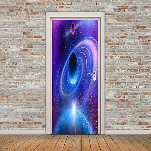 ZWLZJO Papel Pintado Puerta 3D Paisaje de vórtice cósmico azul 88x200cm Door Sticker Puerta Pegatinas Wallpaper Sticker Autoadhesivo Vinilo Removable Art Door Decals para la Decoración Casera