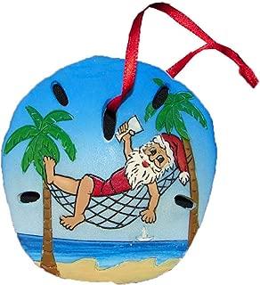 Santa on The Beach Sand Dollar Christmas Ornaments, 3 Inch (Santa in a Hammock)