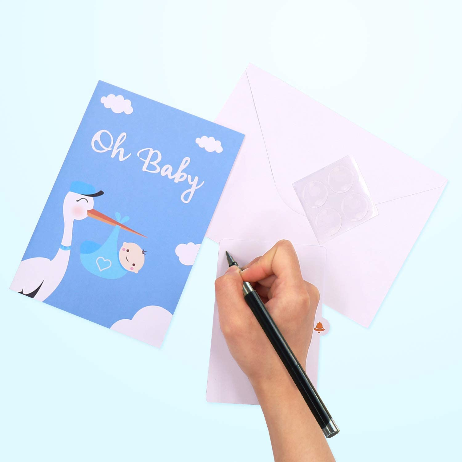 Oritouchpop Baby Shower Card, Birthday Card New Baby Card Congratulations Card Blue It's A Boy Announcement Card Stork Party Gift for Baby Boy-Boy Special Delivery