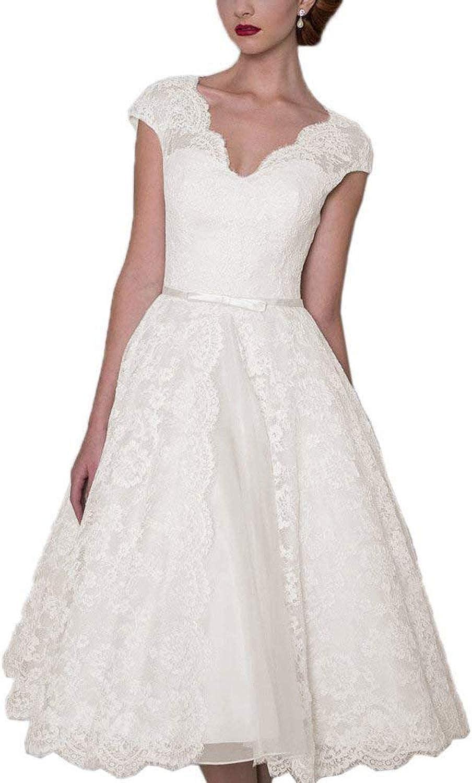 JoyVany Women's Tea Length Wedding Dress Short 2019 Formal Gowns with Belt JW028