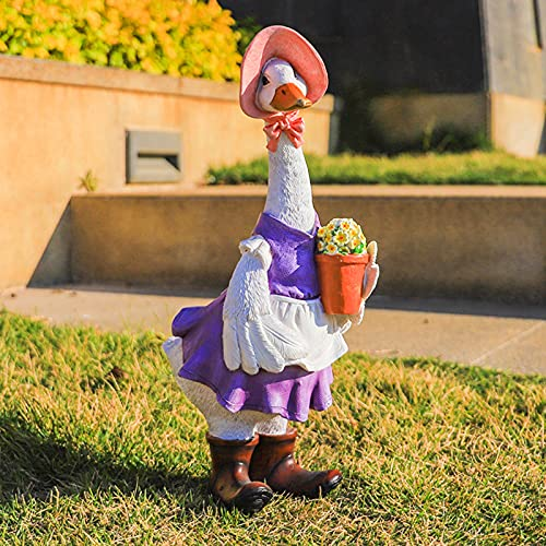 Gartendeko Figuren Weihnachts Gans Ente Vogel Figur Skulptur Gartenfiguren,Gartenente mit Hüten, Tierente Harz Bastelstatue, Entenskulptur Ornamente für DIY Garten Rasen Balkon Teich Deko (Rosa)