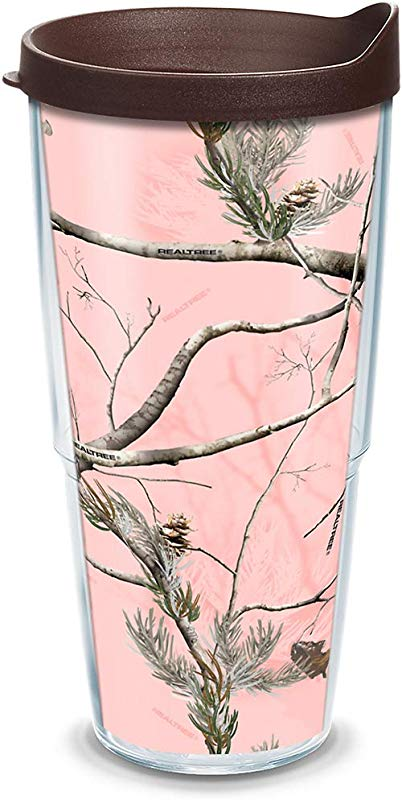Tervis 1058326 Realtree Pink Insulated Tumbler With Wrap And Brown Lid 24oz Clear
