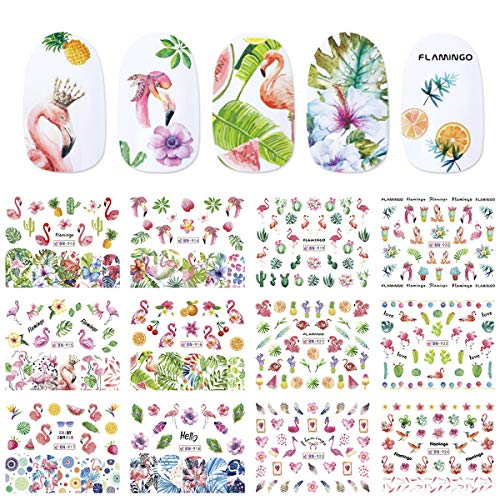 Nail Decals for Women Nail Art Accessories Stickers Colorful Flamingos Flowers Fruit World Summer Animal Environmental Protection Nail Water Tattoo Stickers for Fingernails & Toenails Decor 12 Sheets