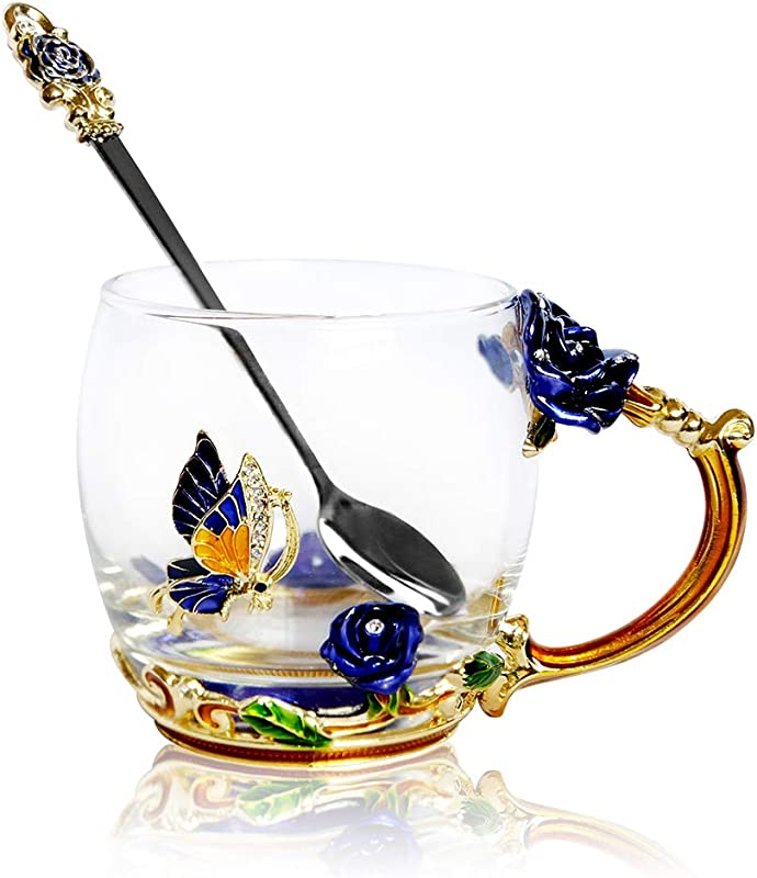 POSTWAVE Tea Cup Coffee Mug Cups Clear Glass Spoon Handmade Blue Rose Flower For Birthday Wedding Anniversary Valentine S Day Mom Wife Gift Cup