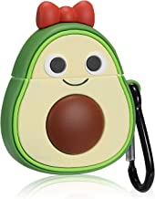 Mulafnxal Compatible with Airpods 1&2 Case,Silicone 3D Cute Funny Fun Cartoon Character Airpod Cover,Kawaii Fashion Fruit Stylish Chic Design Skin, Cases for Teens Girls Boys Air pods (Bow Avocado)