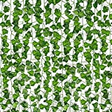 HATOKU 12 Pack Fake Ivy Garland Fake Vines Artificial Ivy, Fake Leaves Greenery Hanging Plants for Wedding Wall Decor, Party Room Aesthetic Decor, 84 Feet