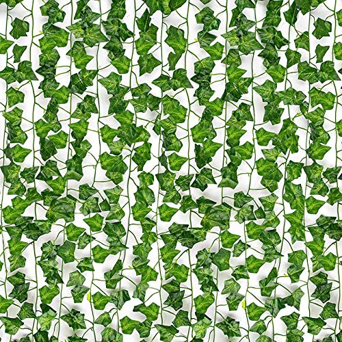 HATOKU 12 Pack Fake Vines for Room Decor Fake Ivy Leaves Greenery Garland Hanging Plants Artificial Vines for Bedroom Aesthetic Decor Wedding Wall Decor, 84 Feet