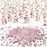 HOWAF Decoración de cumpleaños 18 en Oro Rosa, 18 cumpleaños Decoración Colgante remolinos y Feliz cumpleaños 18 Mesa Confeti para Mujeres y niñas 18 Años Decoraciones Fiesta de Cumpleaños