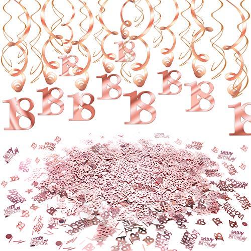 Howaf Rose Gold 18. Geburtstag deko für Mädchen und Jungen, 18. Geburtstag Hängedeko Deckenhänger Spiral Girlanden und 18. Geburtstag Konfetti Roségold Tisch Deko für 18 Geburtstag Dekoration