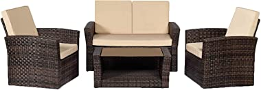 Her Majesty Patio Sofa Set 4pcs Outdoor Furniture Set Backyard Porch Poolside Balcony Garden with Coffee Table, Brown