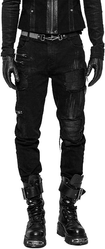 Punk Rave Pantalones De Algodon Para Hombre Estilo Gotico Color Negro Amazon Es Ropa Y Accesorios
