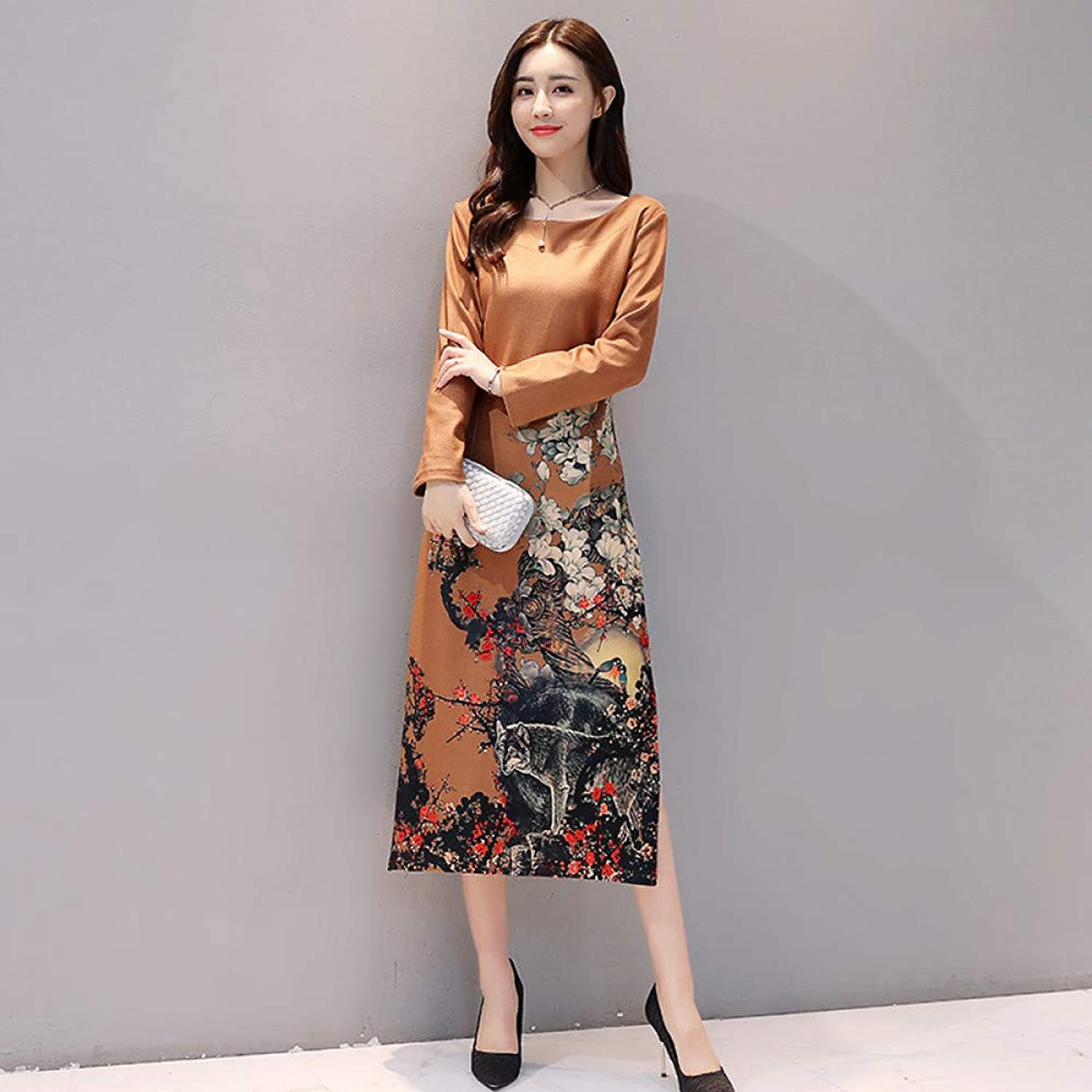 Cxlyq Dresses Autumn Slim Thin Large Size Women's Vintage Print Long Sleeve Cheongsam Dress