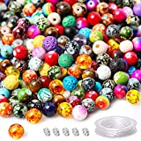 Yholin 687pcs 8mm Multi Color Acrylic Round Loose Glass Beads in Different Pattern with Chakra Bead,Wood Beads,Colorful Lava Beads,Rondelle Spacer Beads for Bracelet Jewelry Making Supplies