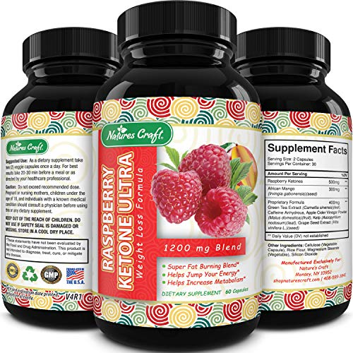 Raspberry Ketones Weight Loss Keto Supplement with Pure African Mango Apple Cider Vinegar and Green Tea - Natural Fat Burner Metabolism Booster Appetite Suppressant for Men and Women