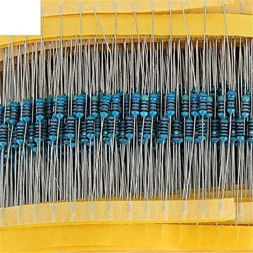 ARCELI 600pcs / Lot 30Values 20pcs 1% 1/4 W Resistor Pack El Kit de Resistencia de película metálica Utiliza una Resistencia de Anillo de Color (10 ohms ~ 1 M Ohm)