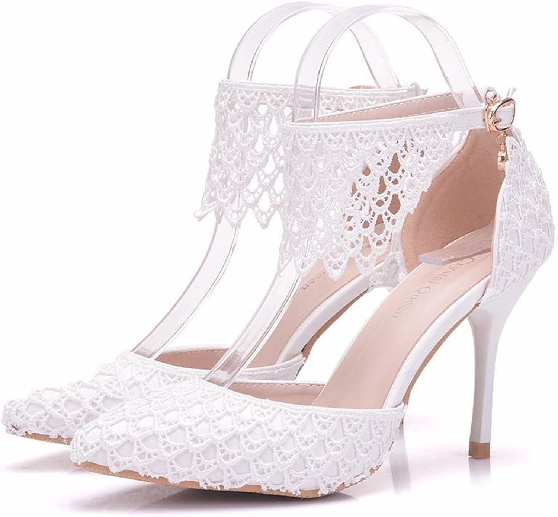 AGoGo Women Vintage Closed Toe Pumps High Heel Flowers Lace Wedding Bridal Dress shoes