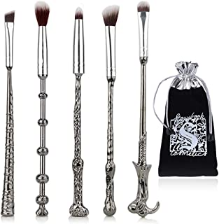 JASSINS 5 Pcs Potter Makeup Brush Set, Wizard Magic Wand Eye Shadow Brushes Palette Eyeliner Blending Pencil Lip Brush Makeup Tools