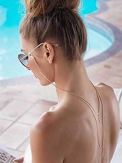 Sethexy Or Chaîne de lunettes Mode Chaîne de masque facial En couches Femmes Chaîne de lunettes de soleil Accessoires pour...
