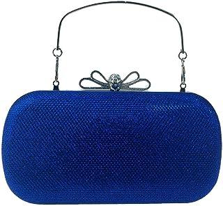 HUIfenghe Women's Glossy Solid Color PU Leather Hard Box Banquet Clutch Bag Diamond Bow Dress Bag Evening Bag Chain Shoulder Messenger Bag Size: 19 * 5 * 10.5cm (Color : Blue)