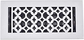 Floor Grates 4x10, Cast Aluminum Floor Grate with Metal Damper - Floor Registers for Home Renovation, Re-Paintable Durable, Sand Casted, Powder Coated, Matte Flat - White