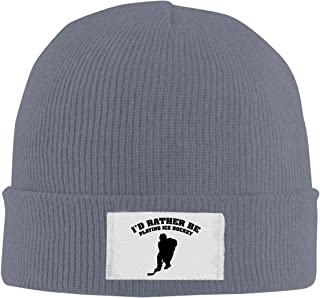 I'd Rather Be Playing Ice Hockey Knitted Hat Beanie Cap Classic Unisex Winter