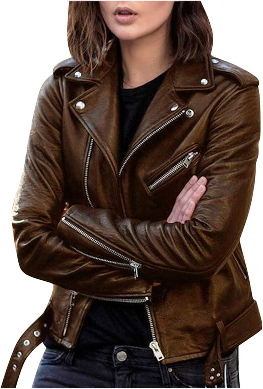 Hefu Womens Coats Faux Leather Belted Motorcycle Jacket Zip Up Outerwear Fall Short Jacket Plus Size Long Sleeve Biker Coat