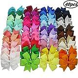Candygirl 40 Pièces pour Fille Enfant Ruban Gros-Grain Pinces à Cheveux Nœuds Papillon Accessoires Cheveux Alligator Clips...