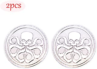 CARRUN 2Pcs 3D HYDRA Marvel Skeleton Skull Octopus Animal Hot Metal Stickers Car Styling Motorcycle Accessories Badge Label Emblems Car Stickers (Silver)