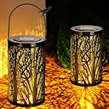 WENFENG 2 Pack Solar Lights Outdoor-Hanging Solar Lantern Lights -Tabletop Lamp for Tree Patio Garden Fence Backyard Pathway Decoration (Black)
