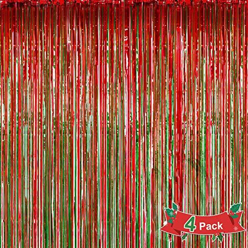 Qpout 4 Pack Foil Fringe Cortinas Foto Telón de Fondo Decoración, Rojo y Verde Metálico Brillo Cortina Serpentinas Colgantes para Navidad Cumpleaños