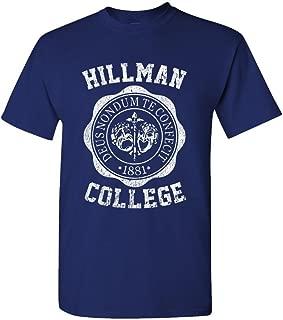 Hillman College - Retro 80s Sitcom tv - Mens Cotton T-Shirt, M, Navy