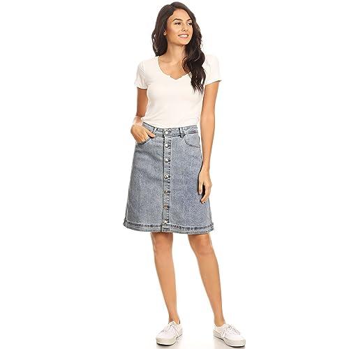 031547c00 Anna-Kaci Womens Vintage Stretch Denim Jean Button Flare Skirt with Side  Pocket