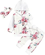 Baby Gifts,Infant Baby Girls Floral Print Hooded Sweatshirts Pants Headband Outfits