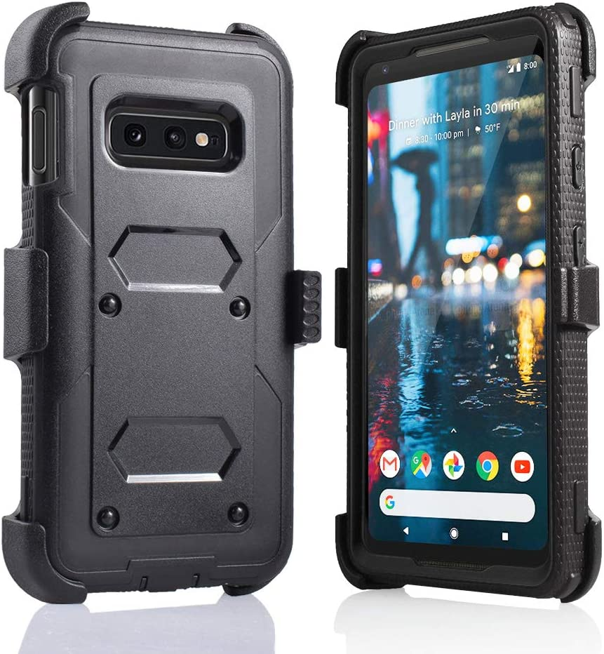 for Samsung Galaxy S10E/lte Heavy Duty Belt Clip Holster Ultra Protective Tough Grip Cover with Holder and Built-in Screen Protector (Black)