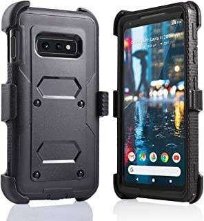 for Samsung Galaxy S10E/lte Heavy Duty Belt Clip Holster Ultra Protective Tough Grip Cover with Holder and Build in Screen Protector (Black)