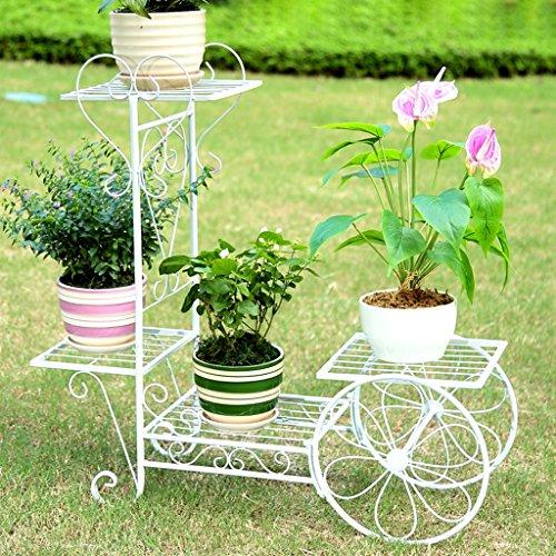 Cadre en bois de fer Salon Balcon Chêne à poser Chaise à fleurs 4 couches (76 * 26 * 70CM) (Couleur : Blanc)