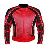 Summer joy Mesh Jacket mesh riding jacket men motorcycle mesh jacket (XXXL, RED)
