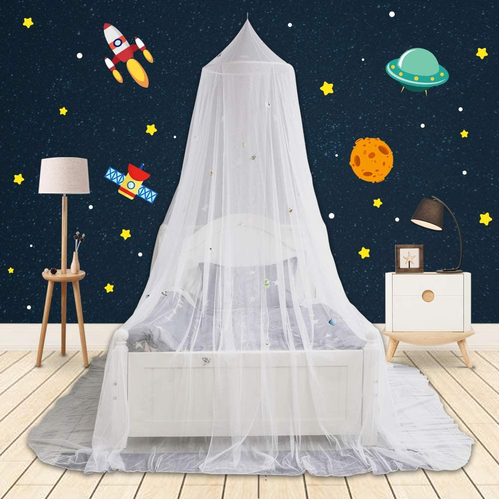 9DragonRock Bed Canopy with Glow in The Dark Spaceworld, Spaceships&Planets for Girls, Kids & Babies, Net Use to Cover The Baby Crib, Kid Bed, Girls Bed Or Full Size Bed, Fire Retardant Fabric, White