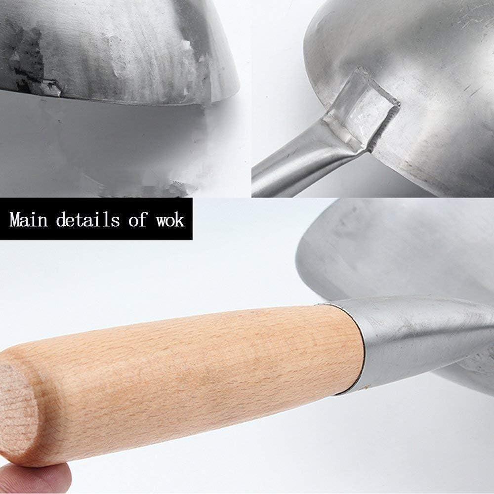 Wok en Fonte avec Couvercle en Bois poêle en Fer de Haute qualité Chinois Pow Wok cuisinière à gaz cuisinière à Induction Universelle 16Zoll 17zoll