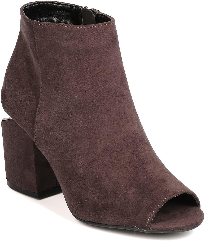 Qupid FH84 Women Faux Suede Peep Toe Metallic Slit Chunky Heel Bootie - Charcoal