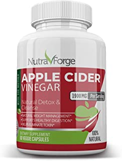 Apple Cider Vinegar Capsules Organic - Extra Strength 1900mg - Apple Cider Vinegar Pills for Weight Loss, Natural Detox & ...