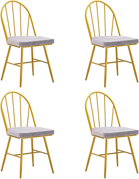 Amazon Com Ssline Modern Dining Chair Set Of 4 Gold Metal Kitchen Dining Chairs With Gray Coushion Seat Elegant Living Room Side Chairs For Home Kitchen Office Waiting Room Table