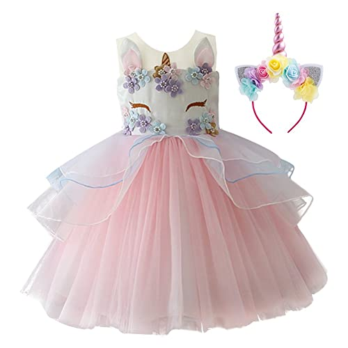 Amazon.com  Kid Girl Flower Tulle Birthday Unicorn Outfits Mythical Costume  Cosplay Pageant Tutu Princess Dress up Headband Party Gown  Clothing 0552e4576b70