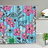 Cortinas de ducha de flores rosas azules con hojas verdes, plantas tropicales, paisajes naturales, acuarela, floral, juego de...