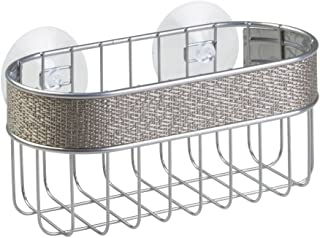iDesign Twillo Suction Bathroom Shower Caddy Basket for Shampoo, Conditioner, Soap - Metallico