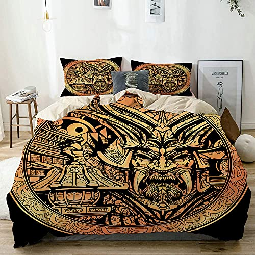 ATZTD Bedding Set,Beige,Gold Rare Coin With The Image Of A Samurai Mask,Decorative 3 Piece Duvet Cover With 2 Pillowcase Super King Size