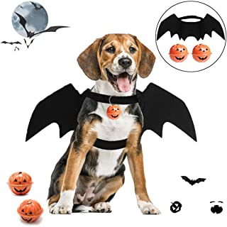 B bangcool Bat Wings for Dogs, Pet Halloween Bat Costume Adjustable Black Dragon Wings with 2 Pumpkin Bells