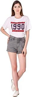 Cali Republic Womens Girls Slim Fit High Waist Folded Bottom Denim Shorts