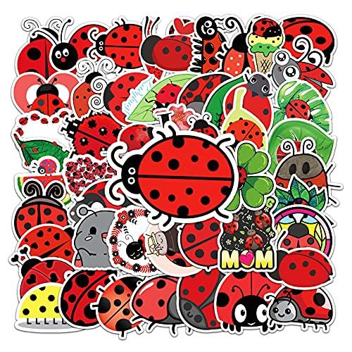 BUCUO Cute Seven Star Ladybug Cartoon Doodle Sticker Equipaje Scooter Caja de papelería Etiqueta Creativa 50 Uds